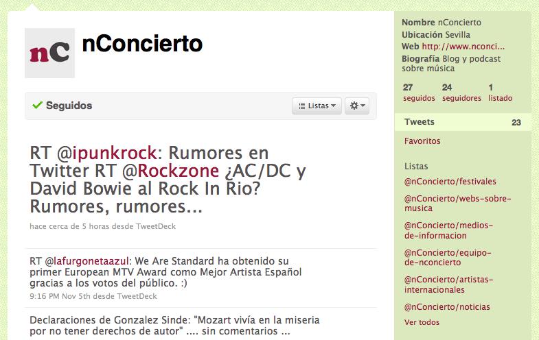 Ejemplo de listas de twitter: twitter de música nConcierto