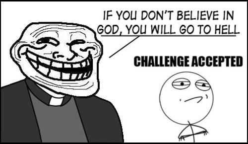Challenge Accepted, infierno, curas, religión, dios, diox, meme