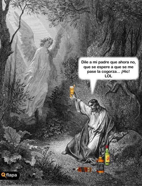 jesux borracho viñeta humor