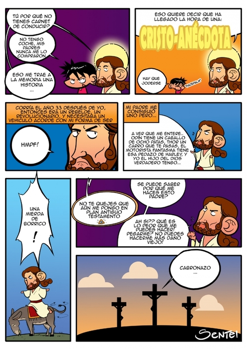 comic, jesus, religion, crucificado, moto, putada
