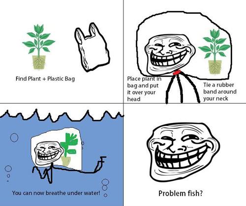 troll, meme, respierar, agua, peces