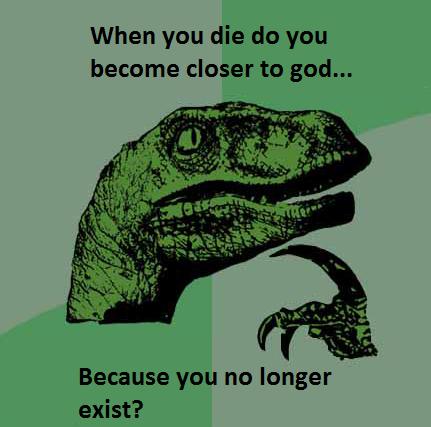 philosoraptor, morir, meme, diox, religión, iglesia, humor, viñeta
