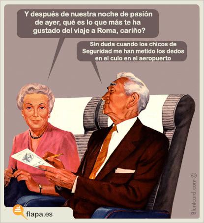secretos de mujer, aeropuerto, seguridad, viaje romántico, humor, viñeta, flapa, funny