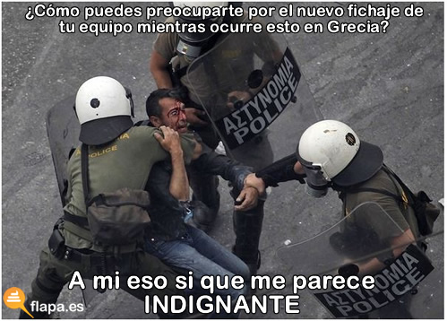 indignados, 15m, futbol, grecia, fichajes, humor, viñeta, policia, politicos