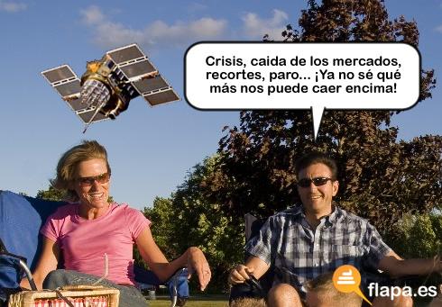 satelite, artificial, viñeta, humor, caida, tierra, espacio, universo, cosmos, a ver si cae en la cabeza de Zapatero ... mas vale tarde que nunca