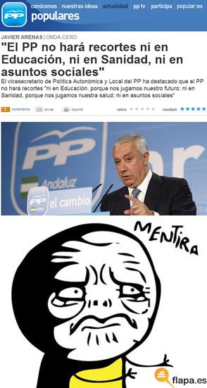 pp, recorte, educacion, politica, viñeta, humor, meme, mentira, arenas, españa, elecciones, 2011
