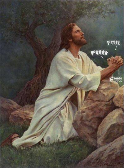 jesus lol, peo, ventosidad, pamplinaca, viñeta, humor, religion