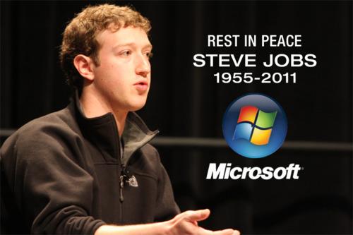 steve jobs, microsoft, rip, muerte, facebook, viñeta, humor