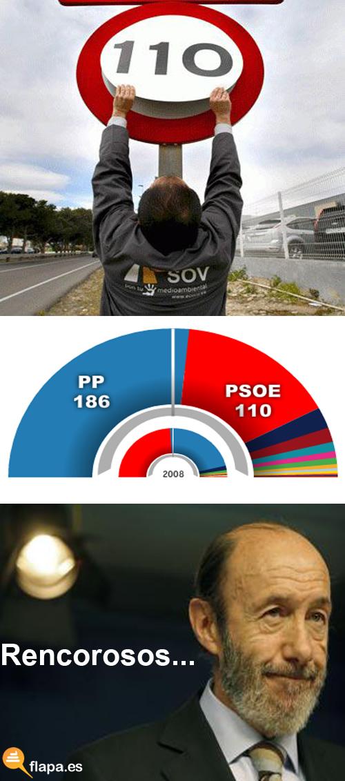 20n, elecciones, 2011, psoe, viñeta, humor, rubalcaba, limite, velocidad, 110, escaños