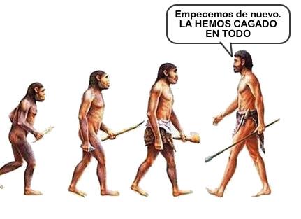 evolucion, empezar, monos, hombre, tierra, cagada, viñeta, humor