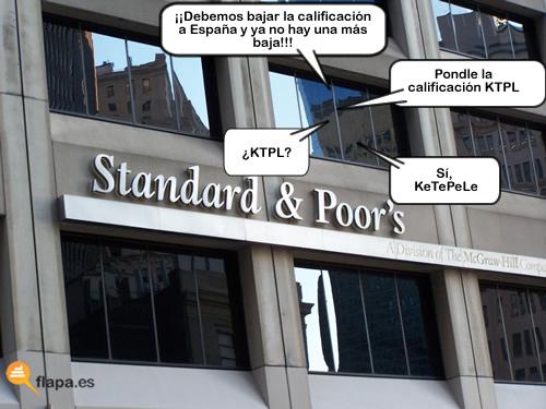 standard and poors, standard & poors, viñeta, humor, que te pele, españa, agencia de calificacion, crisis, bancos, dinero, economia