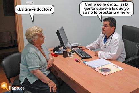 doctor, medicina, es grave doctor, consulta, medico, viñeta, humor
