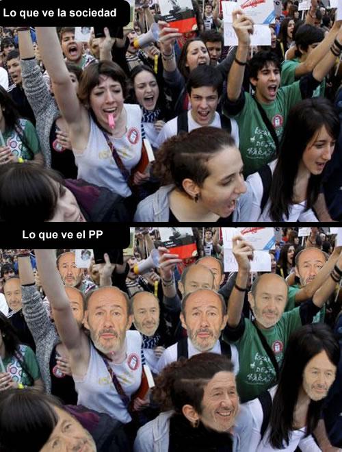 punto de vista, manifestacion, reforma laboral, violentos, estudiantes, revueltas, valencia, barcelona, rubalcaba, rajoy, pp, psoe, viñeta, humor