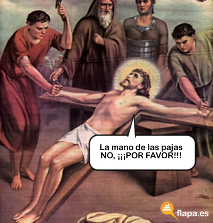 paja, masturbacion, tocarse la colita, mano, jesus, cruz, viñeta, humor, semana santa