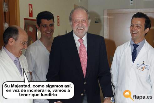 rey, hospital, viñeta, humor, robocop, majestad, monarquia, republica, no le está saliendo caro a España el puto elefantito de los cojones