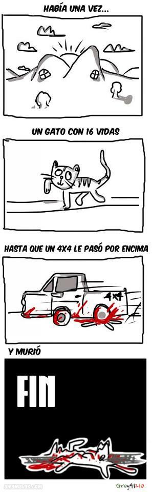 gato, 16, vidas, 4x4, coche, viñeta, humor, muerte, al caraho el gato