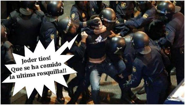 25s. 25-s, colaboracion mojonera, mohonera, viñeta, humor, palos, policia, rosquillas