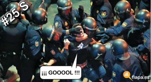 viñeta, humor, violencia, futbol, antidisturbios, hijosdeputa, pasote gordo, 25S, rodea el congreso, cargas policiales