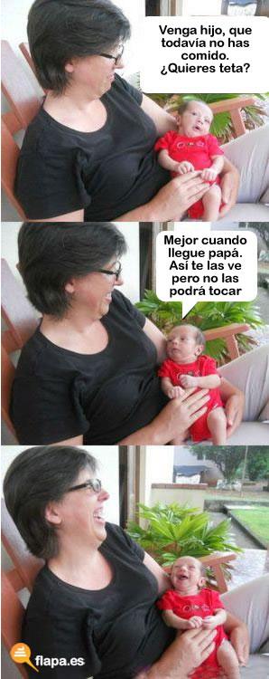 meme, el bebe, viñeta, humor, tetas