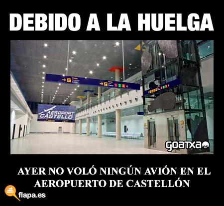 humor, viñeta, flapa, funny, aeropuerto de castellón, huelga, 14N, huelga general