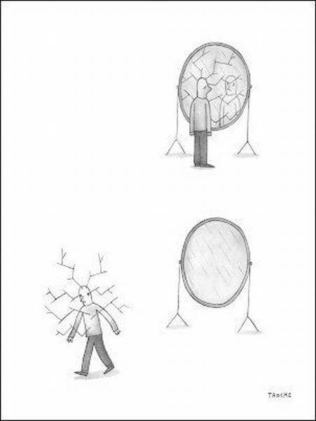 espejo, paranoia, viñeta, humor, espejo roto, mala suerte, supersticioso, pamplina, ida de olla