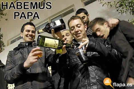 viñeta, humor, habemus papa, papam, vaticano me la agarras con la mano, alcohol, borrachera, pamplina