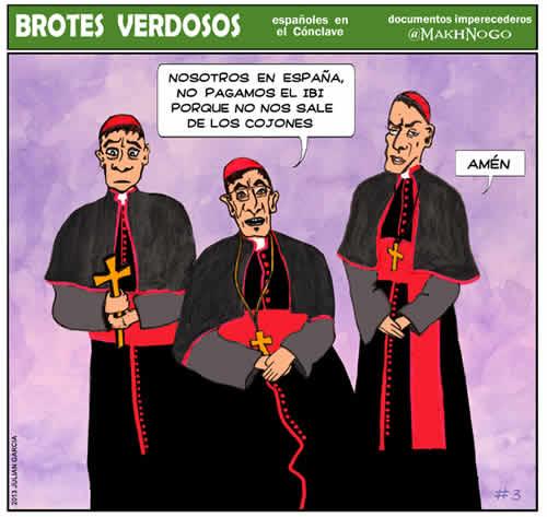 viñeta, humor, cónclave, papa, vaticano, españoles en el cónclave, colaboracion mohonera, brotes verdosos