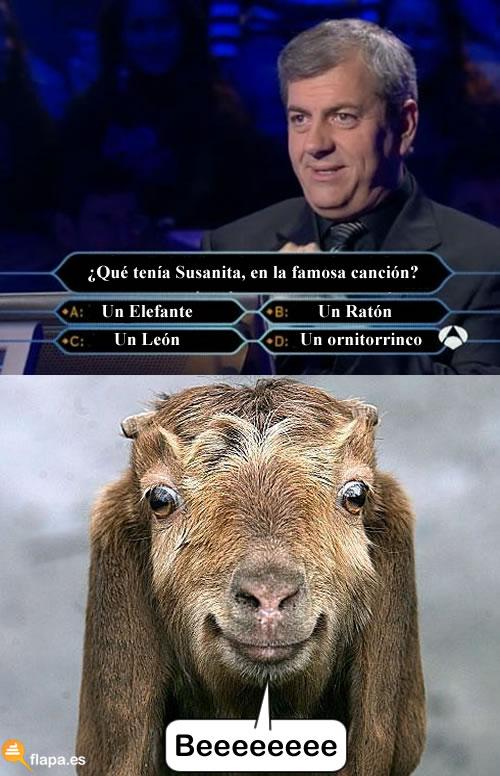 humor, viñeta, flapa, funny, quieres ser millonario, la cabra