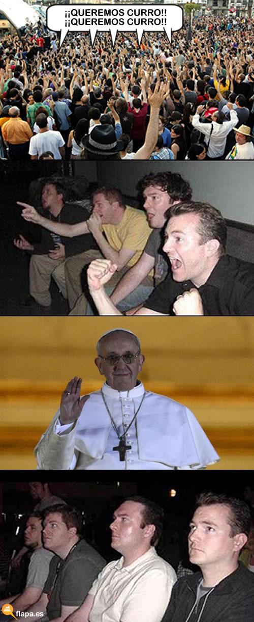 viñeta, humor, trabajo, protesta, curro, papa, francisco i, francesco dise ennota francesco ese qué nombre es miarma, ketepele papa
