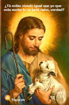humor, viñeta, jesus lol, lol, ovejita, hablando de ovejita... a ver cuándo la espicha la der telecupón, religión, iglesia, funny, flapa