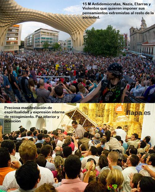 viñeta, humor, virgen del rocio, rociero, 15m, vs, visiones según el gobierno, nazi, eta, religion, rocio 2013