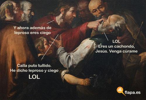 humor, viñeta, iglesia, cristianismo, jesus lol, lol, leproso, ciego