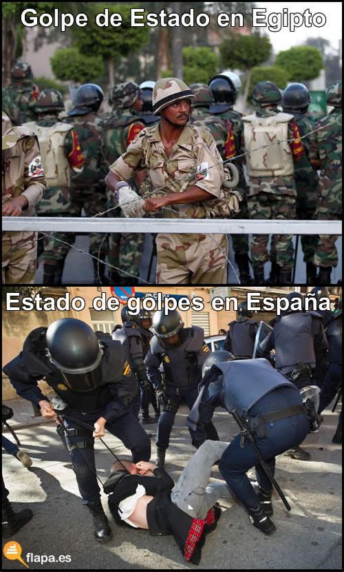 viñeta, humor, politica, Egipto, España, golpe de estado, ejercito, palos, en españa se dan palos más grandes que los que se mete el Water por el culo