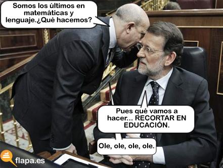 viñeta, humor, eduacion, matematicas, recortes, política, PP, me cago en mi puta madre y en los muertos de Rajoy....no de mariano rajoy de Rajoy a secas